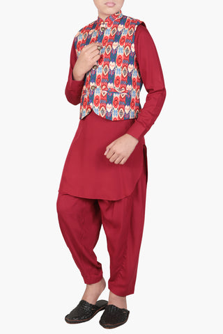 Prince Kabli Set  MAROON (4-15 Years)