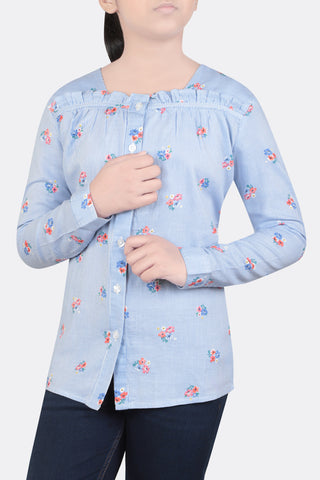 JUNIOR GIRLS' FATUA BLUE PRINTED (10-15 years)