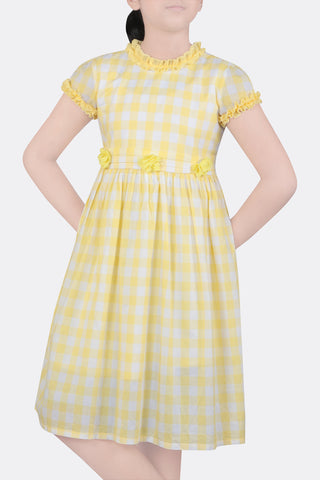 GIRLS DRESS YELLOW CHECK (2-5 YEARS)