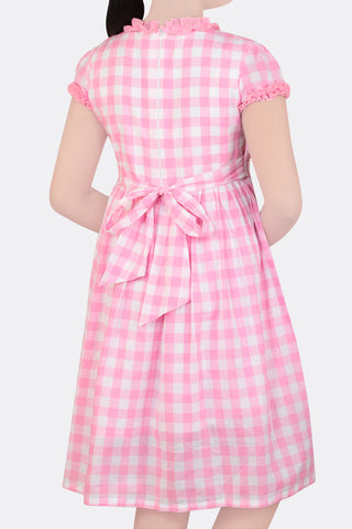 GIRLS DRESS PINK CHECK (6-9 years)