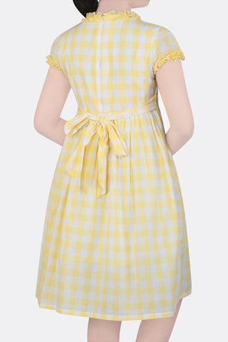 GIRLS DRESS YELLOW CHECK (6-9 Years)