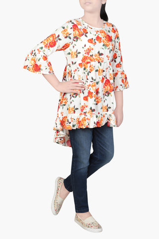 GRILS WOVEN TOP ORANGE PRINTED (6-9 Years)