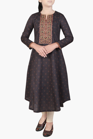 JUNIOR GIRLS' ETHNIC BLACK PRINTED (10-15 YEARS)