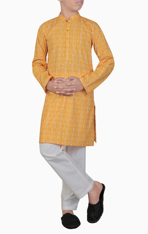 Boys Panjabi YELLOW PRINTED (0-7 years)