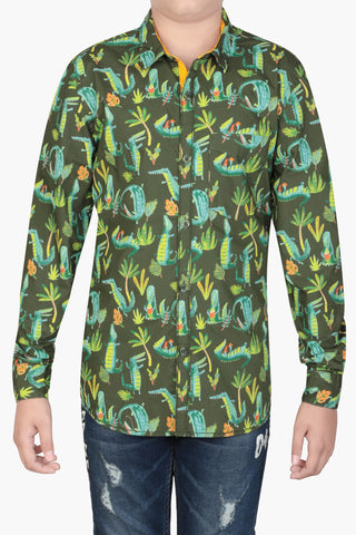 Junior Boy's Shirt GREEN PRINT (10-15 years)
