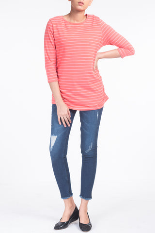 LADIES KNITTED T-SHIRT CORAL