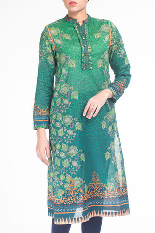 Women's Lawn Kurti (1 Piece)- GREEN