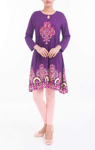 Embroidered Womens Frock PURPLE