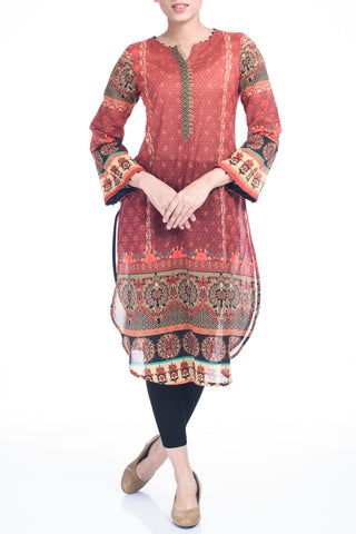 Women's Lawn Kurti (1 Piece)- NEW MAROON