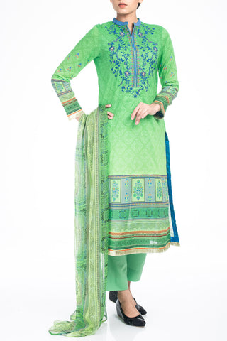 Women's Lawn GREEN PEA ( 3 Piece)