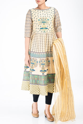 Women SEMI FORMAL Lawn OFF WHITE