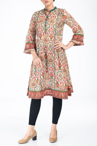 Women's Lawn  Kurti CHARDONNY ORANGE