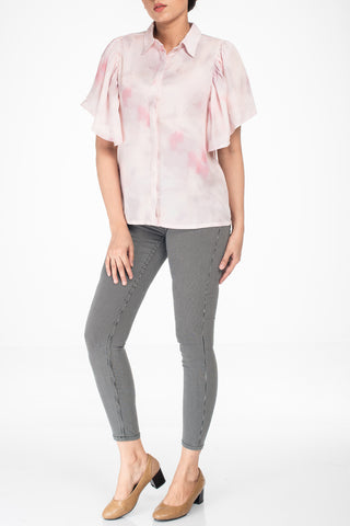 Women Fashion Top PINK WATER COLOR
