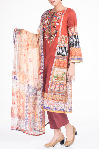 Women's Lawn Kurti MEDIUM CARMINE (3 Piece)