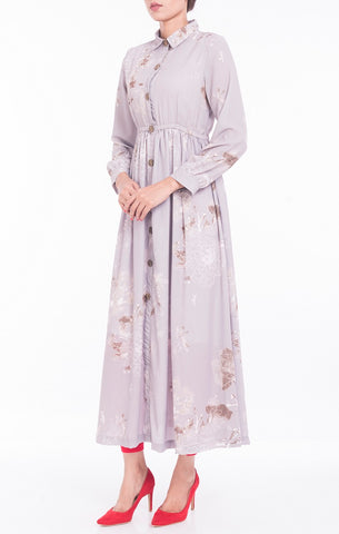 Women's Long Dress GREY FLORAL PRINTED