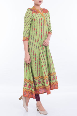 Women's Ethnic PARROT GREEN PRINTED