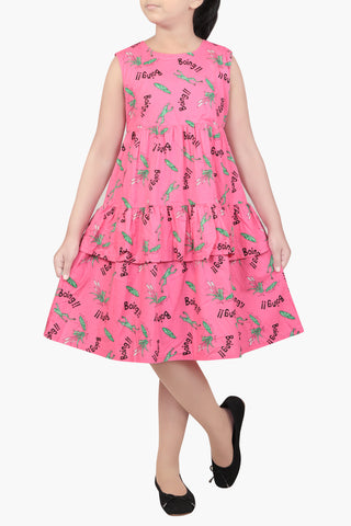 GIRL DRESS PINK PRINTED (6-9 YEARS)