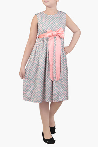 GIRL DRESS BEIGE PRINTED (6-9 Years)