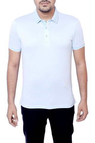 MENS POLO SHIRT SKY BLUE WHITE