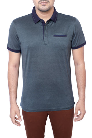 MENS POLO SHIRT SILVER PETROL