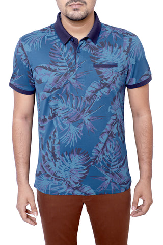 MENS POLO SHIRT G SEA LEAF PRINT