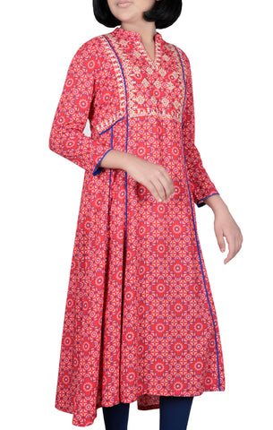 JUNIOR GIRLS' ETHNIC RED PRINTED (10-15 YEARS)