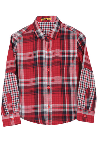 KID BOY WOVEN SHIRT Navy & Red Check