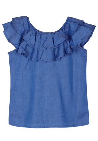 KID GIRL DENIM TOP Solid Blue