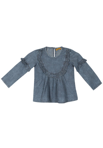Girls Top Indigo Stripe
