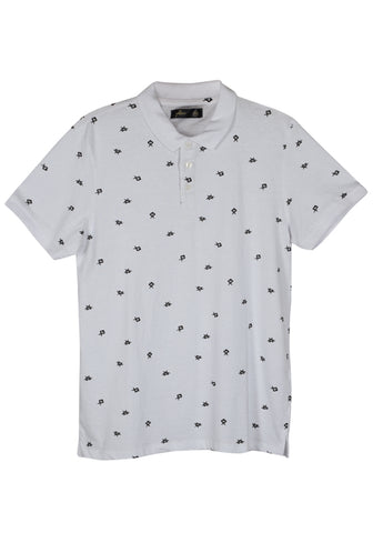 MENS KNITTED POLO SHIRT WHITE / BLACK PRINT