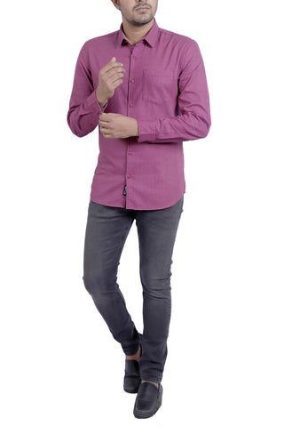 MENS CASUAL SHIRT MAROON DOBBY