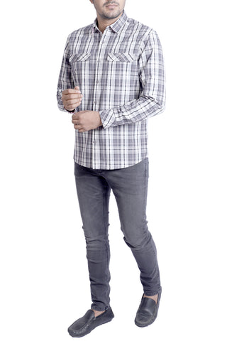 MENS CASUAL SHIRT  GREY CHECK