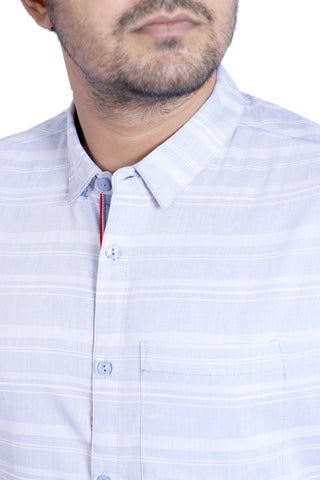 MENS CASUAL SHIRT  ELECTRICK BLUE STRIPE
