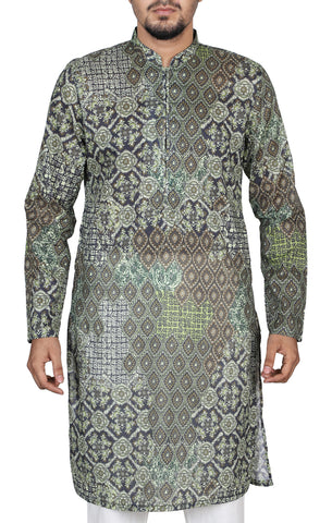 Men's Regular Fit Panjabi MOSS GREEN