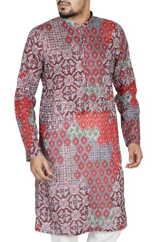 Men's Regular Fit Panjabi MEXICAN RED
