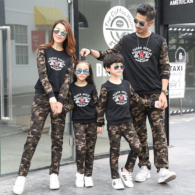 b2027d37feb Family Suits 2pcs Clothes+pant Camouflage Letter for Dad Mom Kids Family  Matching Clothing Student Clothes Outwear New Style
