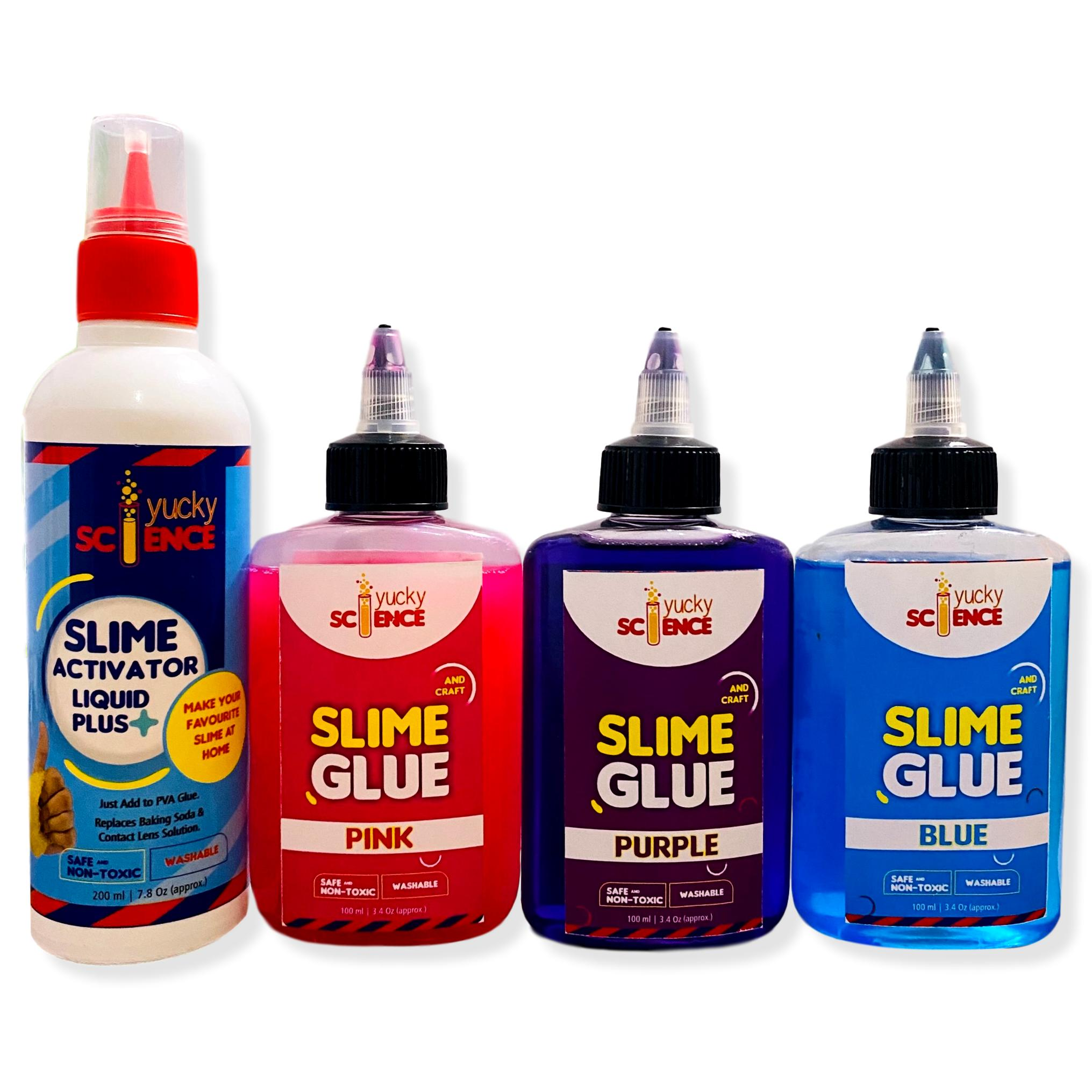 Slime and Craft Assorted Color Glue. (Purple/Pink/Blue, Pack of 3 Bottles, 100 ml Each) + 1 Bottle Slime Activator Liquid Plus Clear (200 ml). Make 20+ Slimes