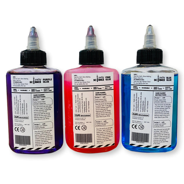 Slime and Craft Assorted Color Glue. (Purple/Pink/Blue, Pack of 3 Bottles, 100 ml Each)
