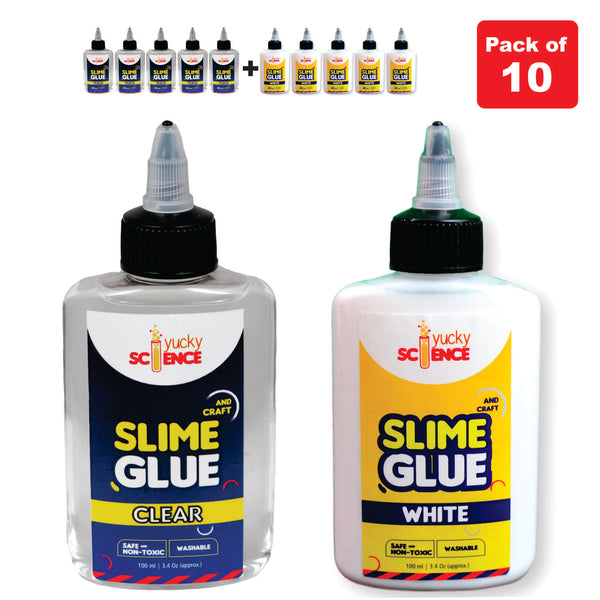 Slime and Craft  5 Bottle White School Glue + 5 Bottle Clear Glue (Pack of 10 Bottles,100 ml Each)