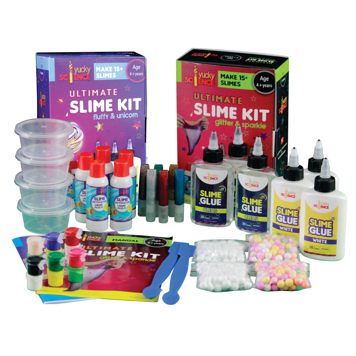 41 Pieces Ultimate Slime Making Kit for kids Combo Pack of 2 - Glitter & Sparkle. Unicorn & Fluffy.