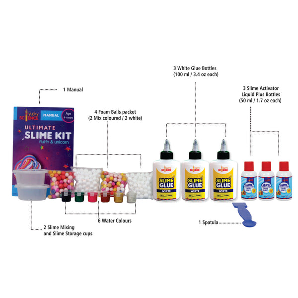 Ultimate Slime Making Kit for Kids - Fluffy and Unicorn. Make 15+ Slimes. Age 4 years and Above
