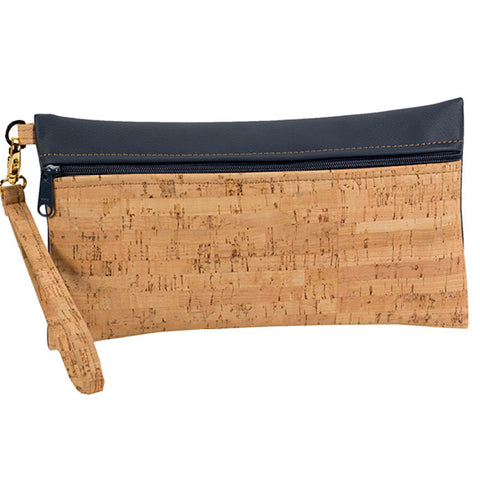 BE READY | Large Wristlet | Rustic Cork + Navy Faux Leather
