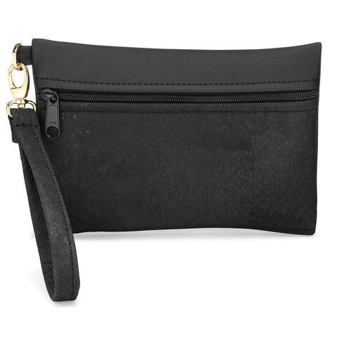 BE READY | Wristlet | Black Cork + Faux Leather