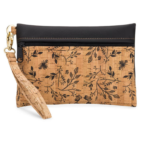 BE READY | Small Wristlet | Floral Print + Faux Leather