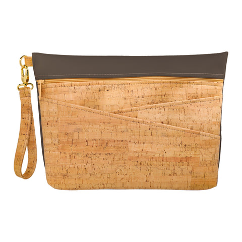 Be Ready Oversized Wristlet | Rustic Cork + Faux Leather
