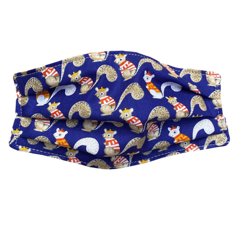 Reusable Cloth Face Mask | Organic Cotton | Dark Blue Squirrels