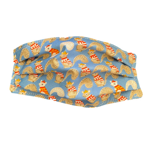 Reusable Cloth Face Mask | Organic Cotton | Light Blue Squirrels