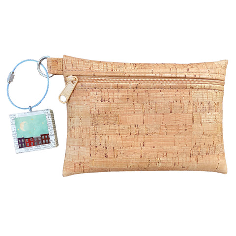 Cork Zipper Pouch + Whimsical Art Key Chain | Face Masks & Essentials Bag | Dreaming Stars