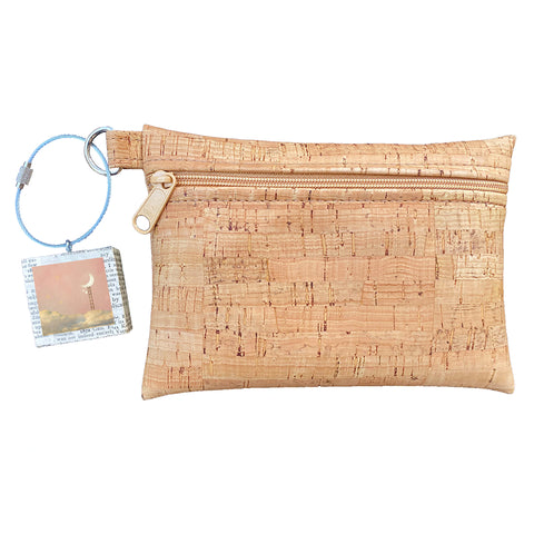 Cork Zipper Pouch + Whimsical Art Key Chain | Face Masks & Essentials Bag | Silver Hearts