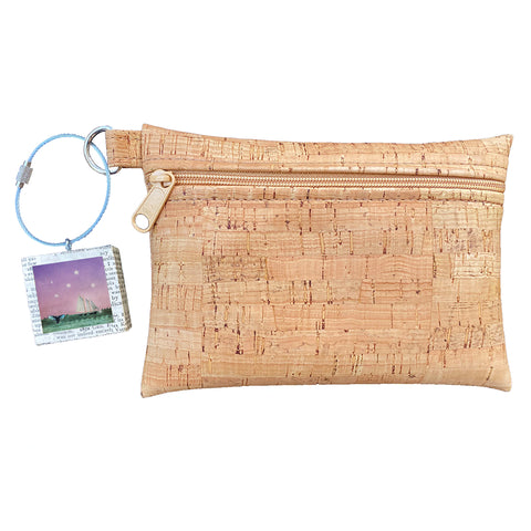Cork Zipper Pouch + Whimsical Art Key Chain | Face Masks & Essentials Bag | Whales Tale